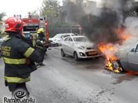 רכב נשרף ברחוב המיתר